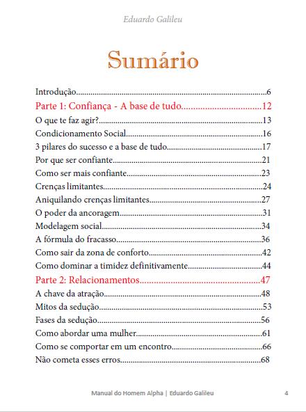 índice livro manual do homem alpha